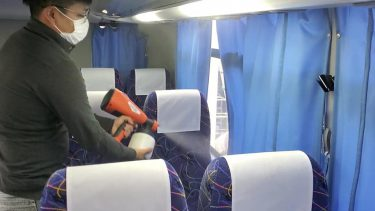 【株式会社 吉野自動車】大型バスの座席へ、除菌・抗菌効果があるインラッシュコートを施工。